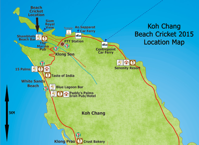 location of koh chang beach cricket